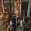 Ipswich:  Andrew Cabot, left, and Nelse Clark have started a rum and whiskey-making business.  They have just installed their distillers, fermenters and other equipment in a warehouse in Ipswich and their first product will be ready over the summer.   photo by Mark Teiwes / Salem News