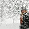 Salem: Paula Ricci of Salem bundled up for a walk along the Salem Common during the blizzard.  photo by Mark Teiwes / Salem News