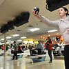 """Peabody: Higgins 7th grader Claudia Lanes bowls with her team """"Neon Greenz"""" which was tied for first place in the Metro Bowl children's league.  photo by Mark Teiwes  / Salem News"""