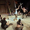 "Salem: Achilles played by Joe Metcalfe, right, fights with Hector played by Ignatio Encina in ""Ghosts of Troy"" performed at Salem State University.  photo by Mark Teiwes / Salem News"