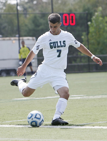 Beverly: Endicott captain Chris Serpa clears the ball out of his defensive zone.  photo by Mark Teiwes  / Salem News