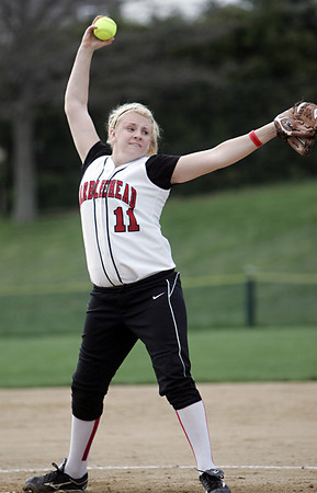 Salem:  Marblehead pitcher Sarah Hastings takes aim for a pitch.  photo by Mark Teiwes / Salem News