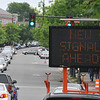 Salem: Yesterday was the the first day the new traffic lights at Hawthorne Boulevard, Congress Street and Derby Street directed traffic.  photo by Mark Teiwes / Salem News