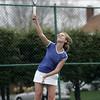 Danvers: Danvers second singles player Rachel Ziner serves up the ball. photo by Mark Teiwes
