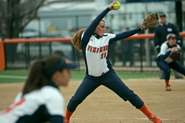 Salem:  Salem State pitcher Katelynn Fanning winds up to release a pitch against Plymouth State University.   photo by Mark Teiwes / Salem News