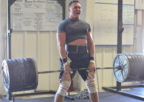 Danvers: Shawn Loiseau, All American linebacker at Merrimack College. deadlifts 635lbs during a workout at Gridiron Training photo by Mark Teiwes /  Salem News