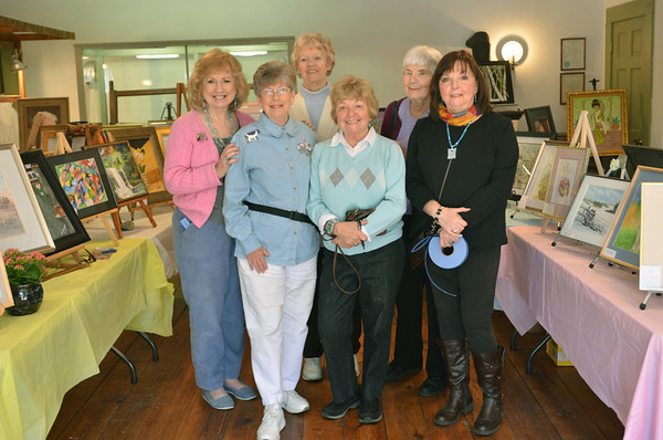 Middleton: From left, Irene Cotter, Beverley Barnes, Peggy Towey, Ethel Marino, Joan Smart, and Carolyn Ruocco were all part of the Middleton Arts Association's annual art fair.    photo by Mark Teiwes / Salem News