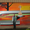 Salem:  Richard Martineau completed and funded the mural himself using over 30 colors.  photo by Mark Teiwes / Salem News