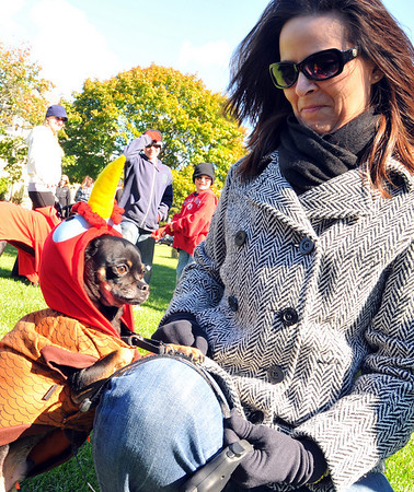Beverly: Kim Clements brought her chiuaua Charlie in a turkey costume.  photo by Mark Teiwes / Salem News