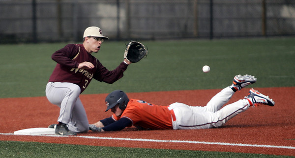 Salem: Salem State's Ethan Trowt of Beverly steals third covered by Norwich's Joe Sleeman.  photo by Mark Teiwes / Salem News