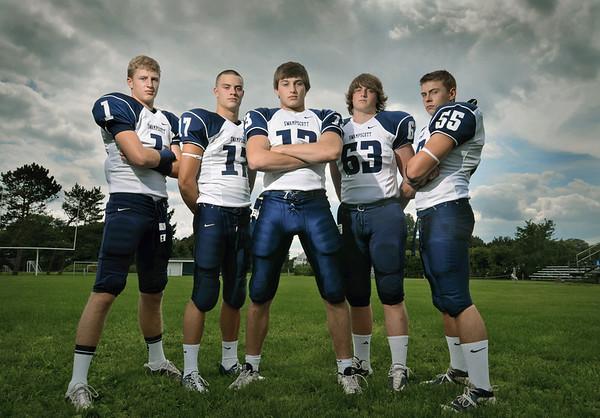 The Swampscott High School varsity football captains are AJ Baker, left, Richard Sullivan, Michael Walsh, Sam Gold, and Zach Kalapinski.  photo by Mark Teiwes /  Salem News