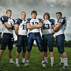 The Swampscott High School varsity football captains are AJ Baker, left, Richard Sullivan, Michael Walsh, Sam Gold, and Zach Kalapinski.  photo by Mark Teiwes /  Salem News