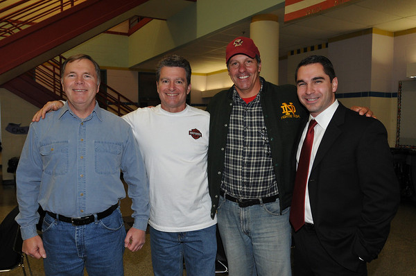 Salem: From left, Dan Pelechowicz, class of '71, Frank Cappuccio, class of '71, Steven Pinto, class of '75, and Dave Angeramo, class of '90.  photo by Mark Teiwes /  Salem News