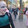Salem: Isadora Phesz, 11, of Salem dressed as a fairy to trick-or-treat for the Mayor's Night Out .  photo by Mark Teiwes / Salem News
