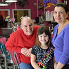 Danvers: Wylinn Palmisano, 6, with her father John, the owner of Goodies Ice Cream, and grandmother Terry.   People are organizing a fundraiser for her with money going to the Juvenile Diabetes Foundation.  photo by Mark Teiwes / Salem News