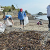 Marblehead: Arianna Moscone, left,  Zoe Golub-Sass, Alea Moscone, and Molly Nash spent Saturday morning picking up trash at Gas House Beach for a beach cleanup day.  Marblehead High School seniors Arianna Moscone and Molly Nash helped organize and advertise the event as part of a senior project.  They are planning on majoring in environmental studies next year in college. Mark Teiwes / Salem News