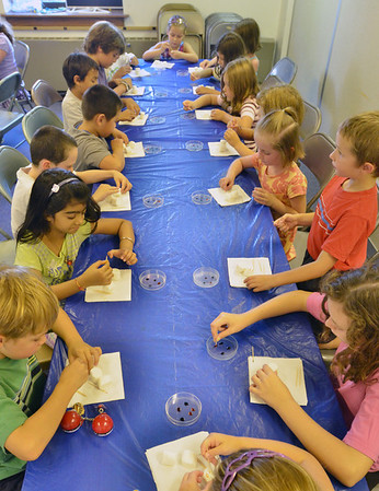"Salem: Children paint marshmallows with food coloring while making s'mores at the ""Have S'more Summer Fun with Camp Crafts and Stories"" Salem Public Library event.  photo by Mark Teiwes /  Salem News"