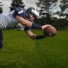 Swampscott High School varsity football captain and wide receiver AJ Baker.  photo by Mark Teiwes /  Salem News