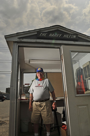 "Beverly: Harry Barton is retiring after working at Moynihan lumber for 57 years.  He spent many of those years in ""the shack"" checking receipts as customers drove away with supplies. photo by Mark Teiwes / Salem News"