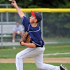 Woburn: Peabody West relief pitcher Matt Tracy releases a fastball during a game against Stoneham. photo by Mark Teiwes / Salem News