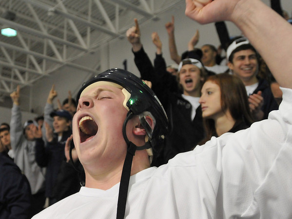 North Andover: St. John's Prep senior Faxon Michaud cheers as his team wins 5-1 over Weymouth photo by Mark Teiwes / Salem News