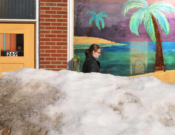 Beverly: On a sunny cold day, Erin Wolf, a Monserrat art education student, strolls by a tropical painting in the window of the Suntan Studio on Cabot Street.  photo by Mark Teiwes / Salem News