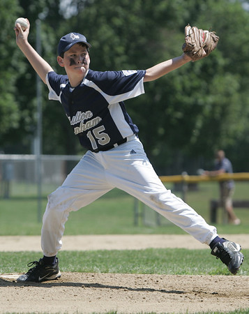 Danvers: Hamilton-Wenham pitcher Aidan Robinson takes aim for a pitch in a District 15 Little League all-star game against Amesbury.   photo by Mark Teiwes / Salem News