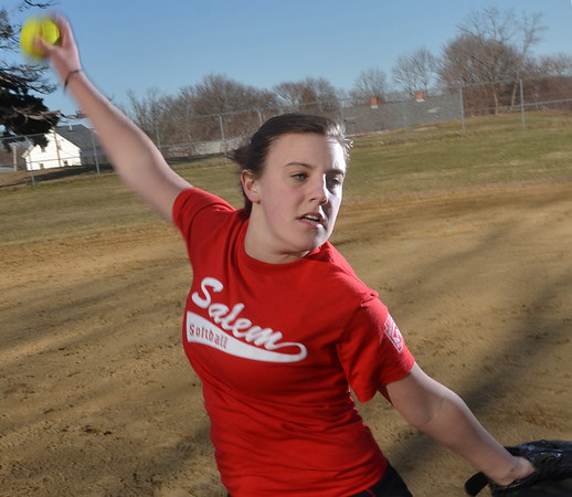 Salem: Salem High School girls softball pitcher Sarah Chasse may be the top pitcher on the North Shore.  photo by Mark Teiwes / Salem News