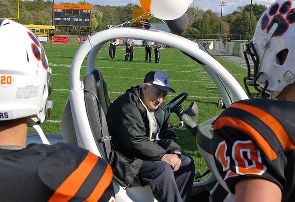 Beverly:  Melvin Deveau was honored for his 100th birthday before the Beverly High School football game.  He has faithfully attended games since 1920.  photo by Mark Teiwes / Salem News