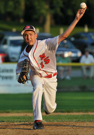 Salem: Marblehead's Spencer Carr releases a fastball in the finals of the Gallant Tournament versus Lynn. photo by Mark Teiwes /  Salem News
