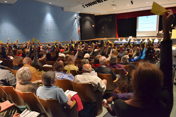 Hamilton: Hamilton residents vote on an article during town meeting. photo by Mark Teiwes / Salem News