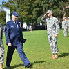 Salem: Brig. Gen. Thomas J. Sellars, left, commander of the Massachusetts Army National Guard walks across the Salem Common with Major General L. Scott Rice, Chief of Staff, Massachusetts Air National Guard, for a traditional a pass in review of the troops during a service honoring Gen. Sellars retirement.   photo by Mark Teiwes / Salem News