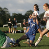 Beverly: Danvers forward Chrissy Gikas (7) is stopped by Beverly goalkeeper Katherine Creamer, left. photo by Mark Teiwes / Salem News