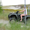 "Ipswich: Laura ""Dutch"" VanSchyndel of Ipswich begins her 6th year lifeguarding at Crane Beach riding on a four wheeler on a path through the dunes.  photo by Mark Teiwes / Salem News"