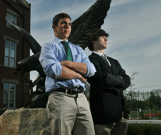 Danvers: St. John's Prep hockey players Sam Kurker, left, and Colin Blackwell have recently been selected for the prestigious National Development Program for hockey.  Photo by MARK TEIWES