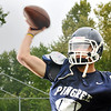 Hamilton: Pingree football quarterback Jerome Cappadona launches a pass during practice. photo by Mark Teiwes / Salem News