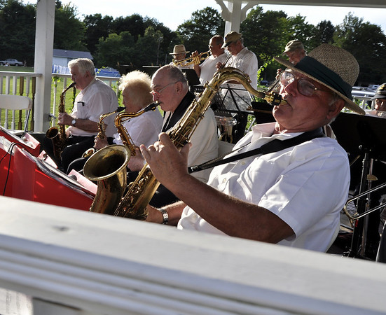 Hamilton: Tenor Saxophonist Henry Lucas plays with the Riverside Swing Band at Patton Park for the Summer Concert Series.  The next concert is July 25 with Four Guys in Tuxes.  photo by Mark Teiwes / Salem News