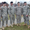 Salem: Alpha 101 Field Artillery Regiment members returned in December after serving for in Afghanistan. Pictured from left, Scott Thompson of Beverly, Rob Anderson of Peabody, John Sauvageau of Peabody, Preston Foss of Hamilton, David Woodfin fo Beverly, and Mark Gauthier of Peabody.  photo by Mark Teiwes / Salem News