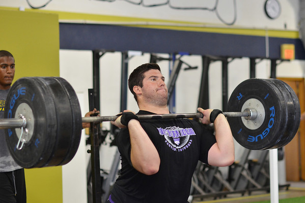 Danvers:  Former Swampscott High School football player Brian Palangi lifts weights at Gridiron Training in preparation for his upcoming season at University of Northern Iowa. photo by Mark Teiwes /  Salem News