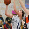 Hamilton: Hamilton-Wenham's Cassandra Fibbe makes a layup in last night's game against Ipswich.  photo by Mark Teiwes  / Salem News