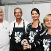 Ipswich: Features gatherings -- Greek festival & clambake pictured from left: George Karras, of Ipswich, Ted Koutoulas, of Albany NY, Antigoni Woodland, of Boxford, and Vivian Koutoulas, of Albany NY.  photo by Mark Teiwes / Salem News