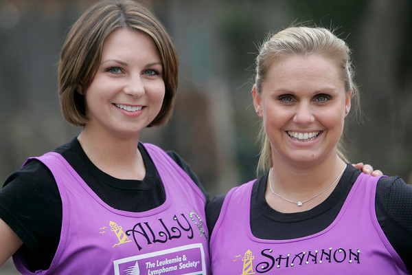 Saelm: Allison Gilgun of Salem, left, a teacher in Beverly, is running Boston for the first time after being diagnosed with Hodgkins Lymphoma in 2009. Her friend Shannon Botte, right, is her running partner.   photo by Mark Teiwes / Salem News