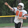 Beverly: Austin Beaulieu, 13, makes a pass during practice. photo by Mark Teiwes /  Salem News