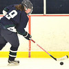 Hamilton: Pingree's Jillian Witwicki of Danvers carries the puck up ice during a game against Hebron Academy's  photo by Mark Teiwes / Salem News