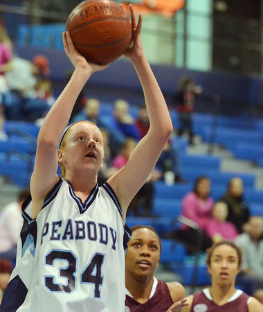 Peabody: Peabody's Carolyn Scacchi gets a clean look at the hoop for a shot.  photo by Mark Teiwes / Salem News