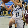Peabody: Peabody's Emily Manoogian gets into the lane for a layup against Lynn English.  photo by Mark Teiwes / Salem News