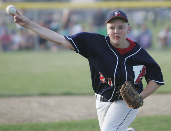 Lynn: Peabody West Little League pitcher Connor Corrigan throws a fastball for a strike out.  photo by Mark Teiwes  / Salem News