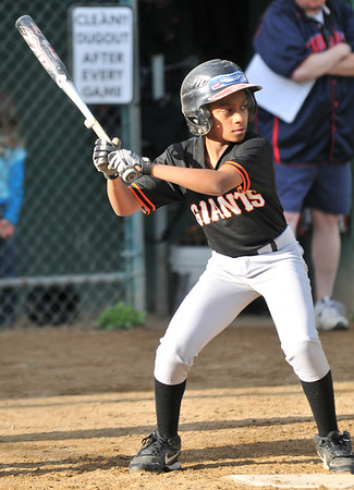 Salem: Giants batter Giancarlo Sanchez, 12, preps for a hit.  photo by Mark Teiwes / Salem News