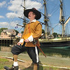 Salem: Paul Kenworthy, dressed as the captain of the Salem trained band, brought out his 17th century town militia for the Maritime Festival.  photo by Mark Teiwes / Salem News