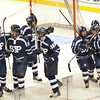 Boston: St. John's Prep celebrates after scoring a goal.   photo by Mark Teiwes / Salem News